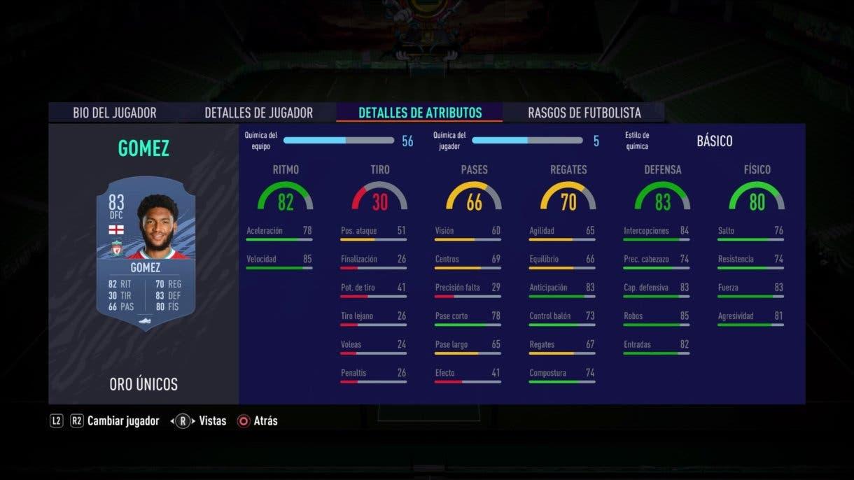 FIFA 21 Ultimate Team Joe Gómez oro stats in game