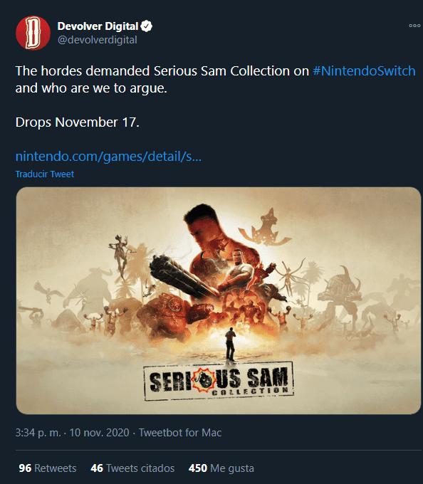 Serious Sam Collection llega este noviembre a Nintendo Switch