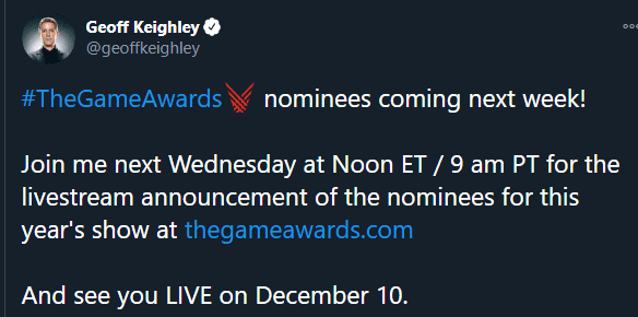 The Game Awards 2020 revelará la semana que viene a todos sus nominados