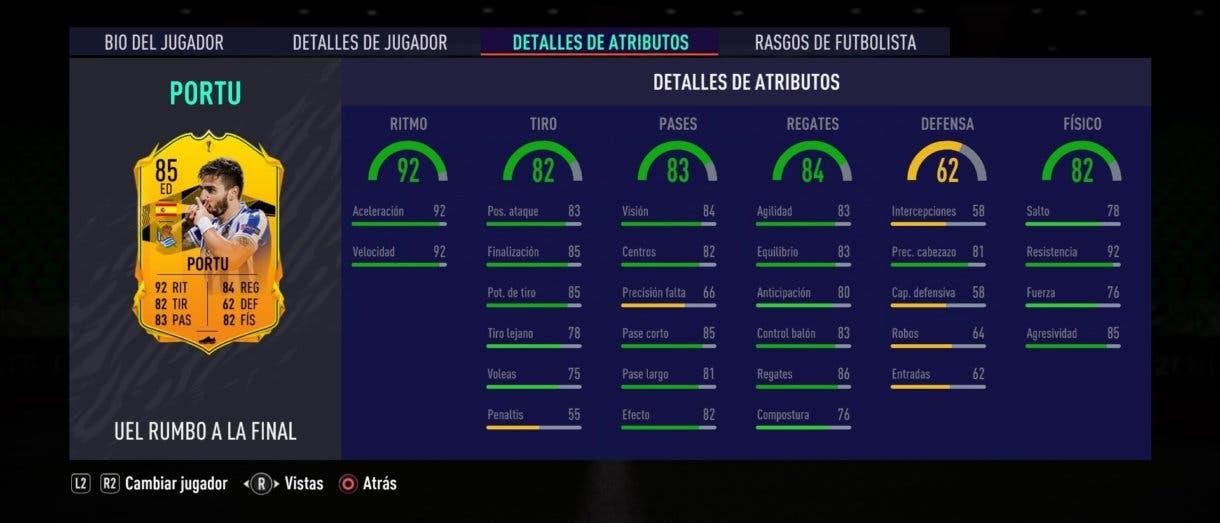 Portu RTTF stats in game FIFA 21 Ultimate Team