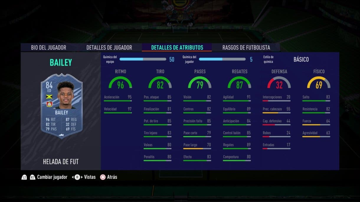 Stats in game de Bailey Freeze FIFA 21 Ultimate Team