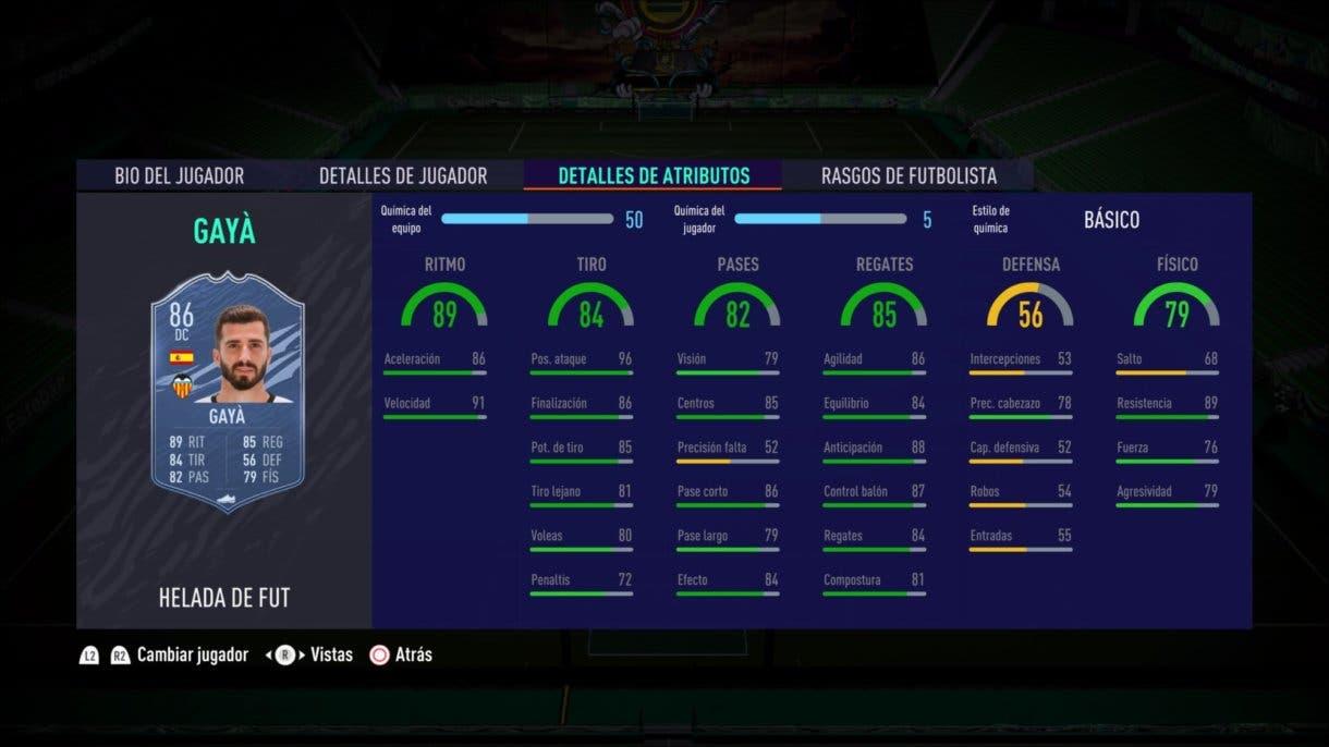 Stats in game de José Luis Gayá Freeze FIFA 21 Ultimate Team