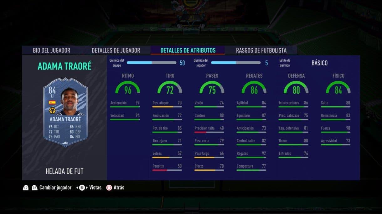 Stats in game de Adama Traoré Freeze FIFA 21 Ultimate Team