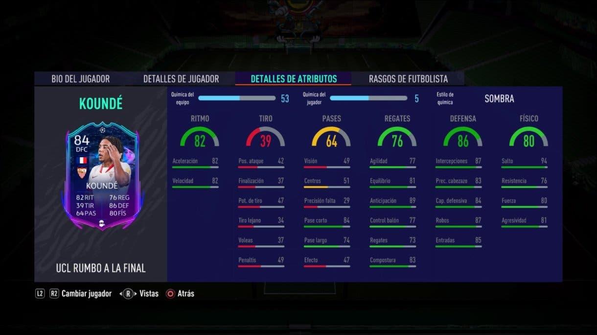 FIFA 21 Ultimate Team. Stats in game de Koundé RTTF.