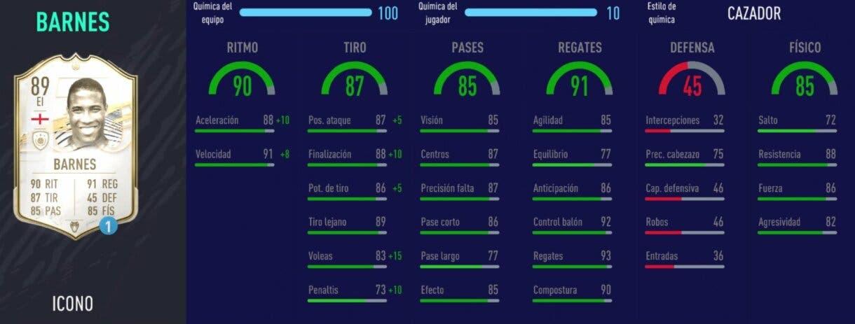 FIFA 21 Ultimate Team: Iconos atacantes que podemos aprovechar tras el bajón de mercado (2ª parte) stats in game Barnes Prime