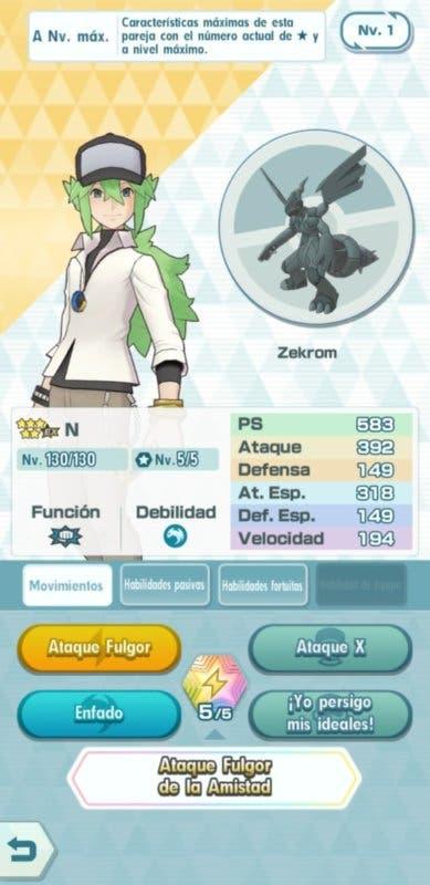 Pokemon Masters EX N y Zekrom datos