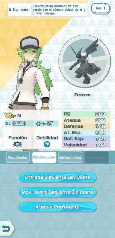 Pokemon Masters EX N y Zekrom habilidades