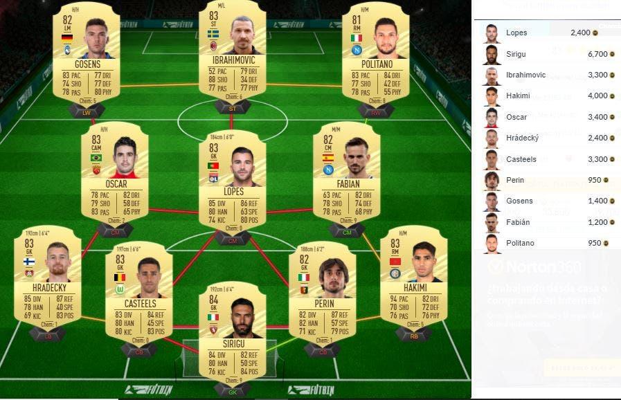 FIFA 21 Ultimate Team SBC Mejora de Defensa 83+