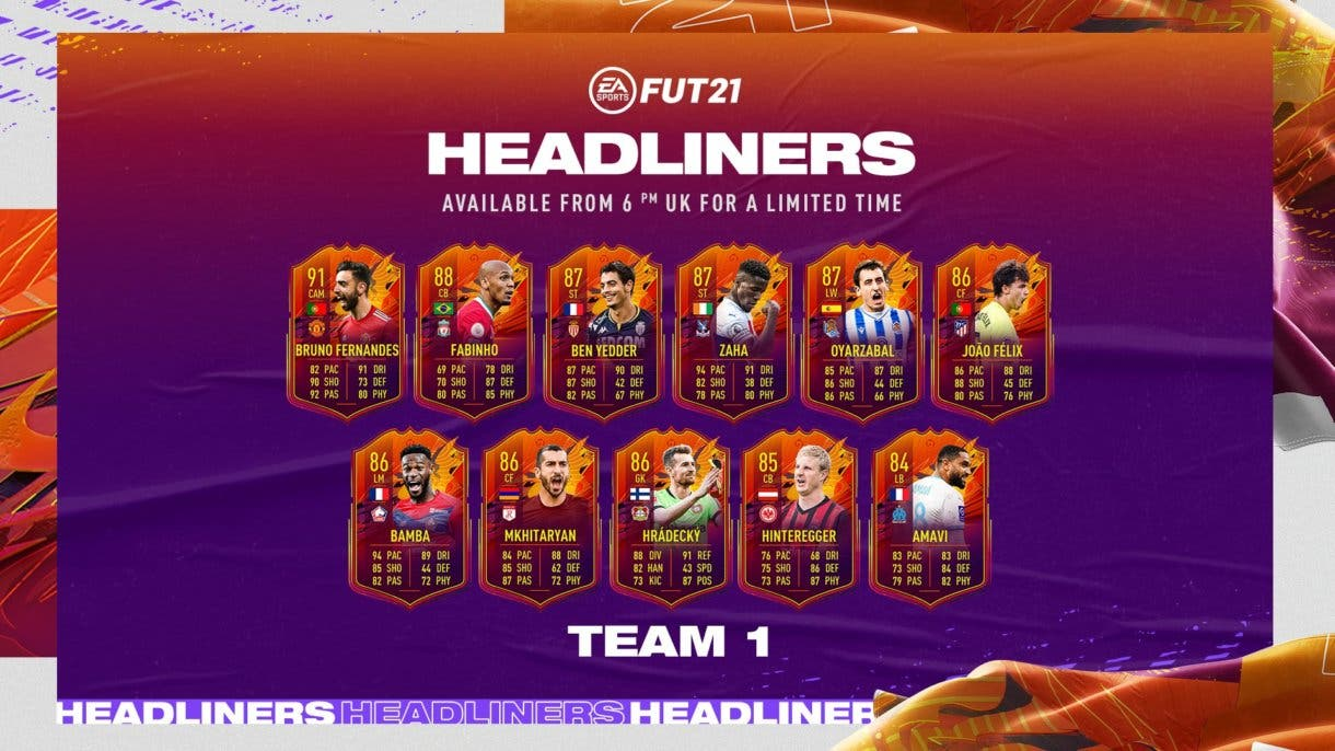 FIFA 21 Ultimate Team primer equipo Headliners