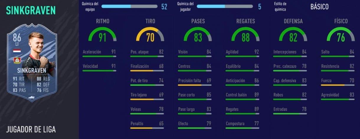 FIFA 21 Ultimate Team plantilla FUT Champions Division Rivals un millón. Stats in game de Sinkgraven Jugador de Liga