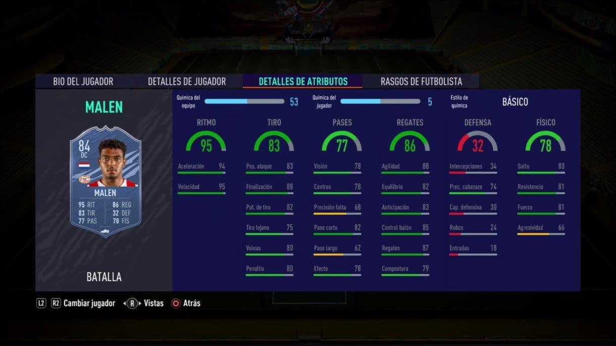 FIFA 21 Ultimate Team Malen Showdown stats in game.