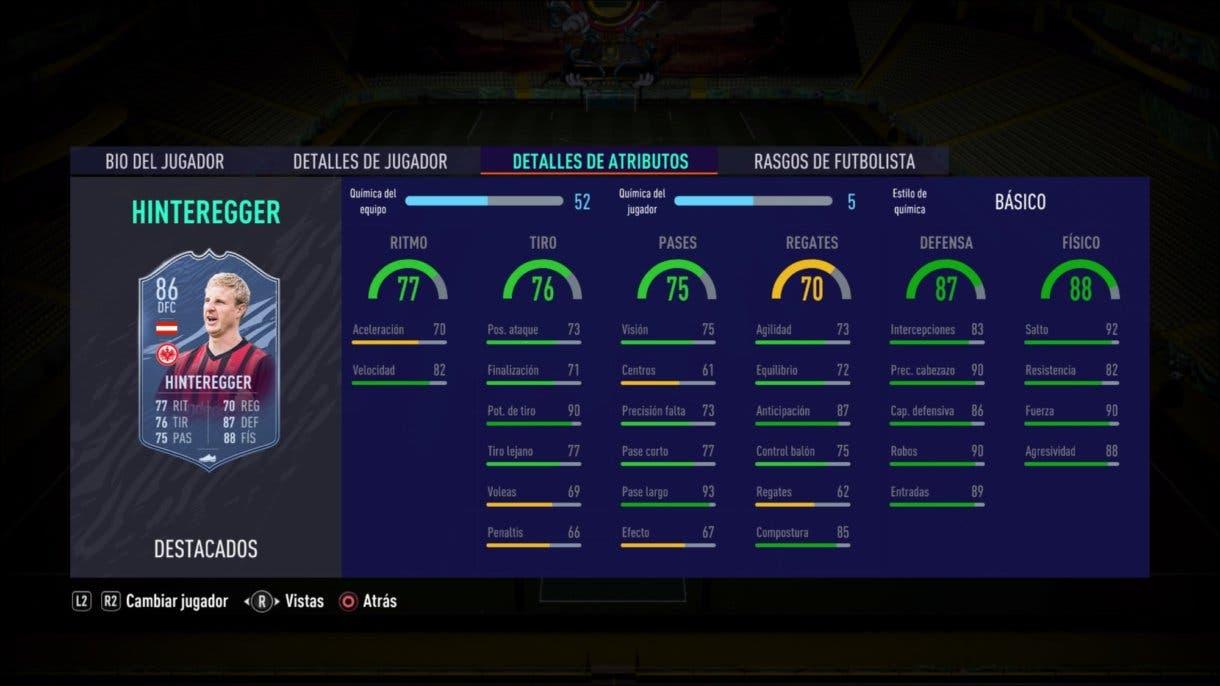 FIFA 21 Ultimate Team Hinteregger Headliners stats in game