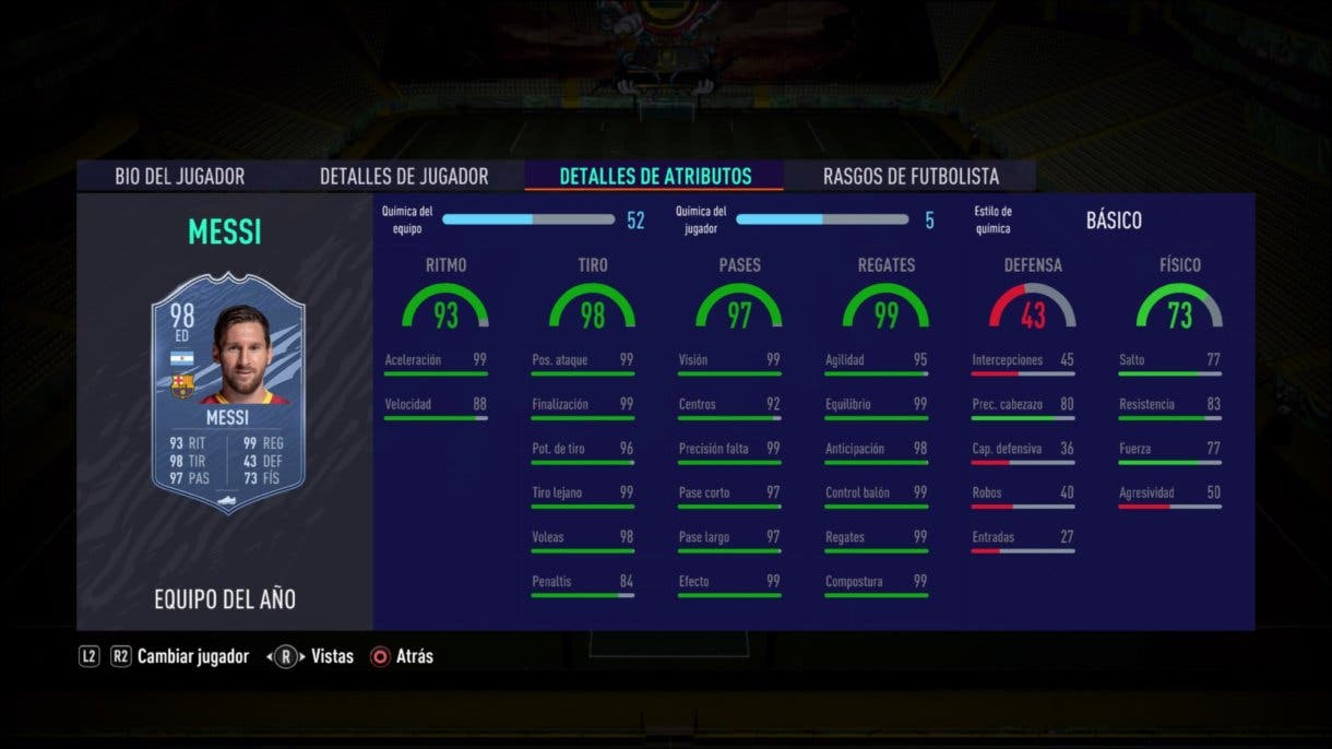 Stats in game de Leo Messi TOTY. FIFA 21 Ultimate Team