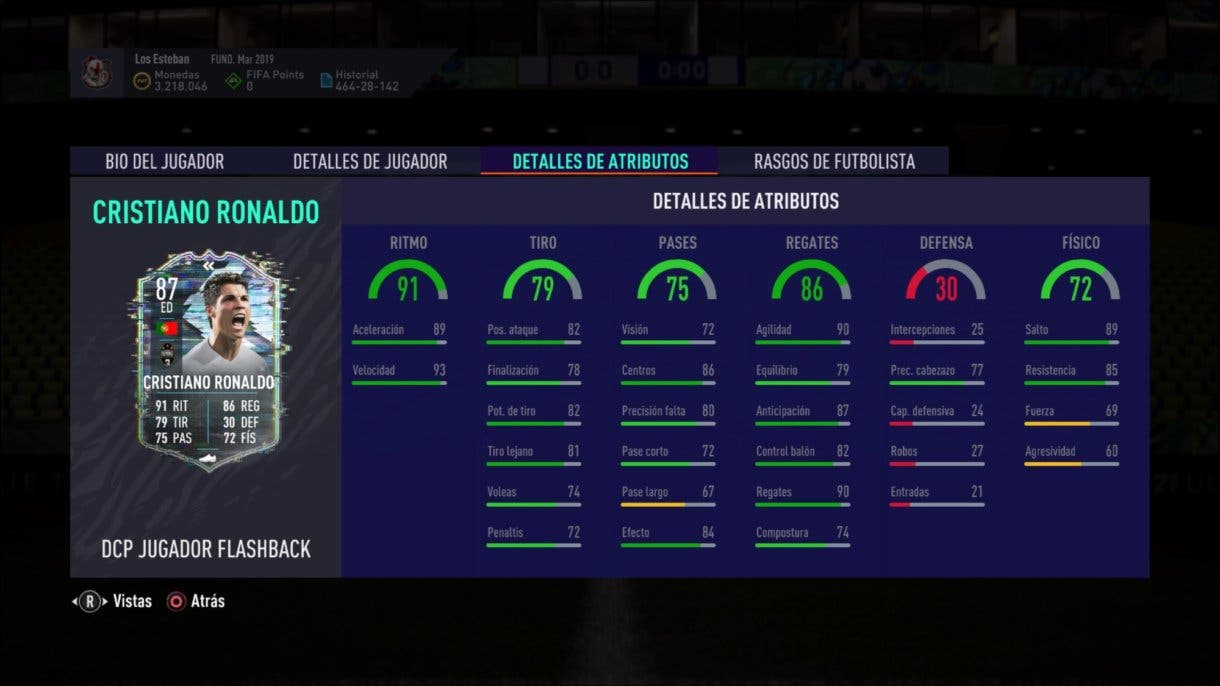 Stats in game de Cristiano Ronaldo Flashback. FIFA 21 Ultimate Team