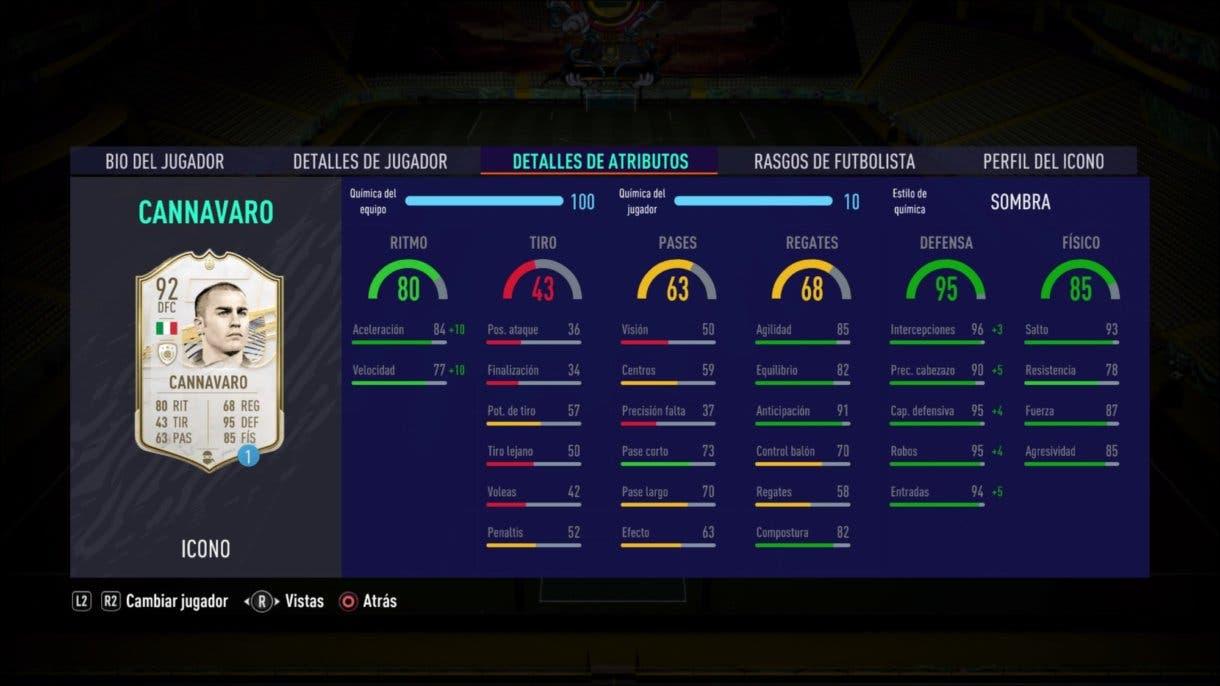 FIFA 21 Ultimate Team Cannavaro Prime stats in game SBC Icono