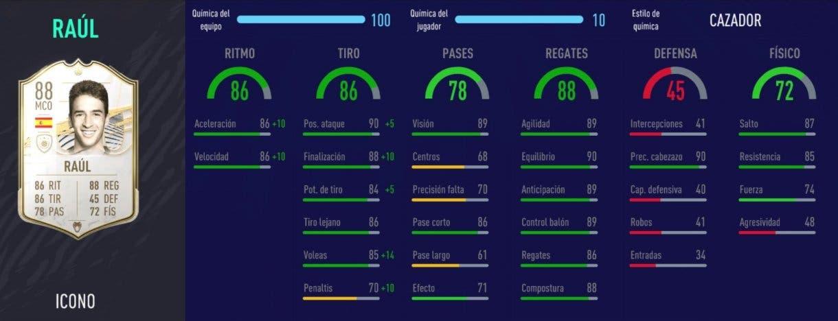 FIFA 21 Ultimate Team plantilla competitiva para FUT Champions y Division Rivals stats in game de Raúl Icono Medio
