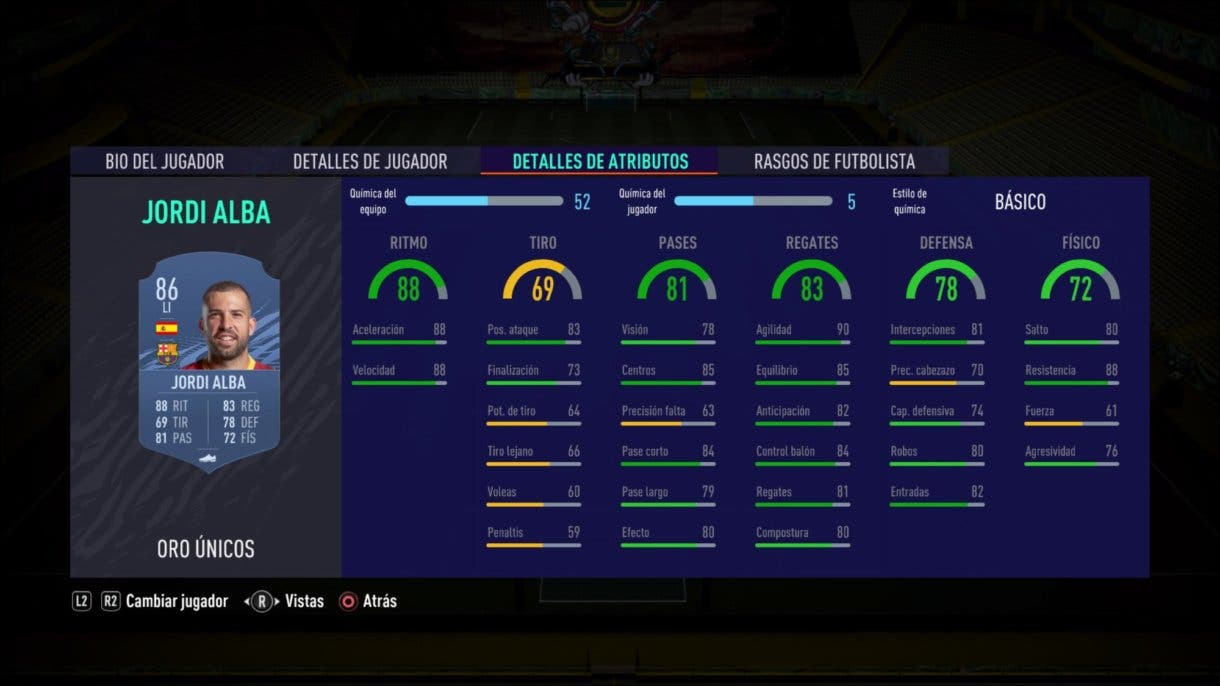FIFA 21 Ultimate Team stats in game Jordi Alba oro