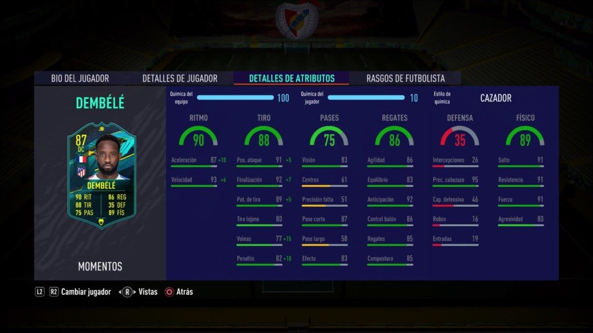 Stats in game de Moussa Dembélé Moments. FIFA 21 Ultimate Team
