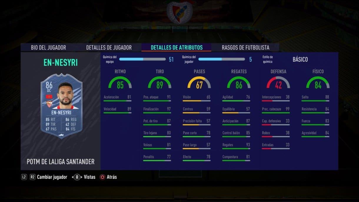 Stats in game de Youssef En-Nesyri POTM Liga Santander FIFA 21 Ultimate Team