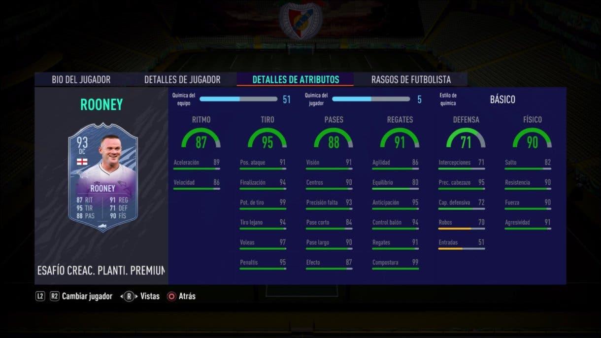 Stats in game de Wayne Rooney Fin de Una Era. FIFA 21 Ultimate Team