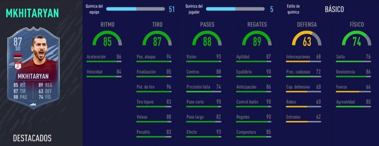 FIFA 21 Ultimate Team stats in game de Mkhitaryan Headliners