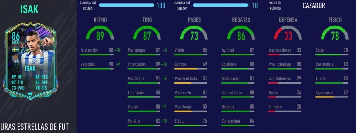 FIFA 21 Ultimate Team mejores mediapuntas y delanteros centros de la Liga Santander. Stats in game Isak Future Stars