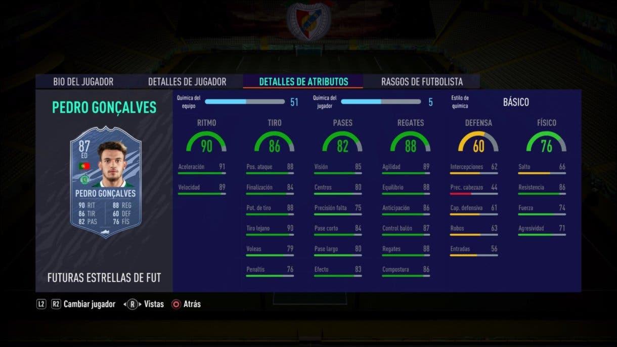 Stats in game de Pedro Goncalves Future Stars como mediocentro. FIFA 21 Ultimate Team