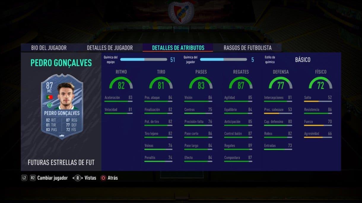 Stats in game de Pedro Goncalves Future Stars como mediocentro. FIFA 21 Ulitmate Team