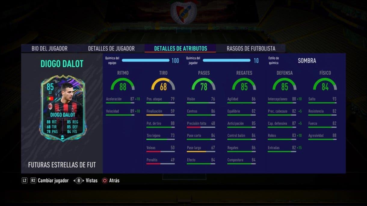 Stats in game de Diogo Dalot Future Stars. FIFA 21 Ultimate Team.