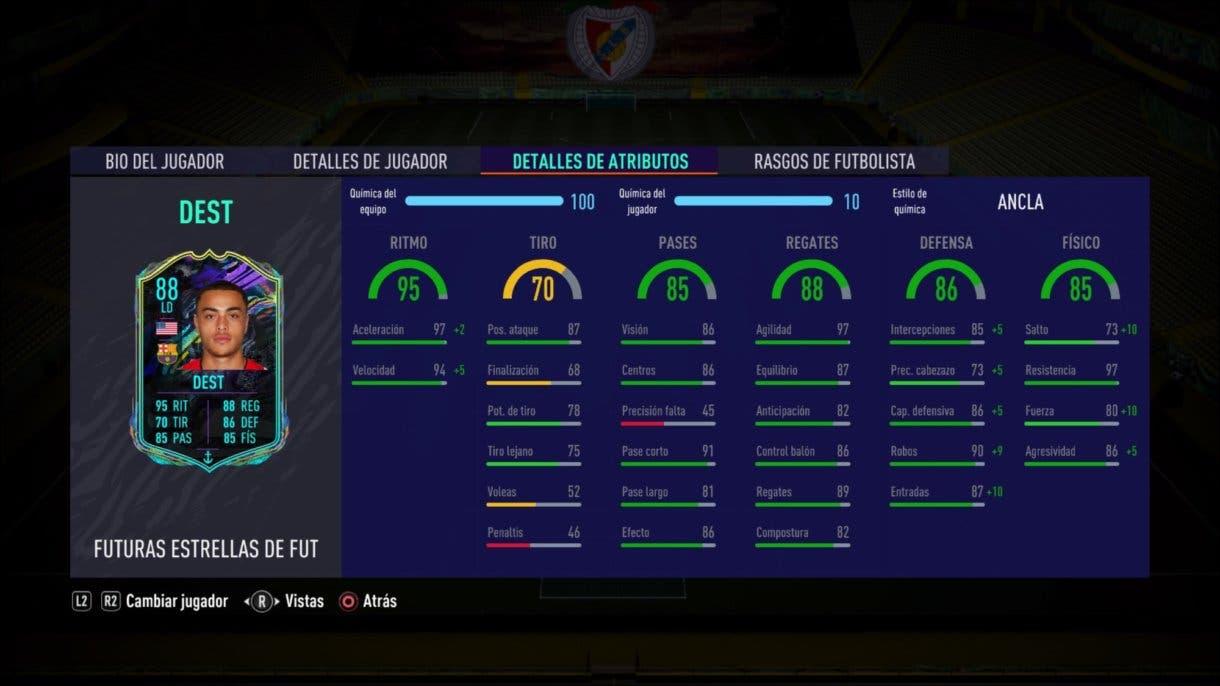 Stats in game de Dest Future Stars. FIFA 21 Ultimate Team