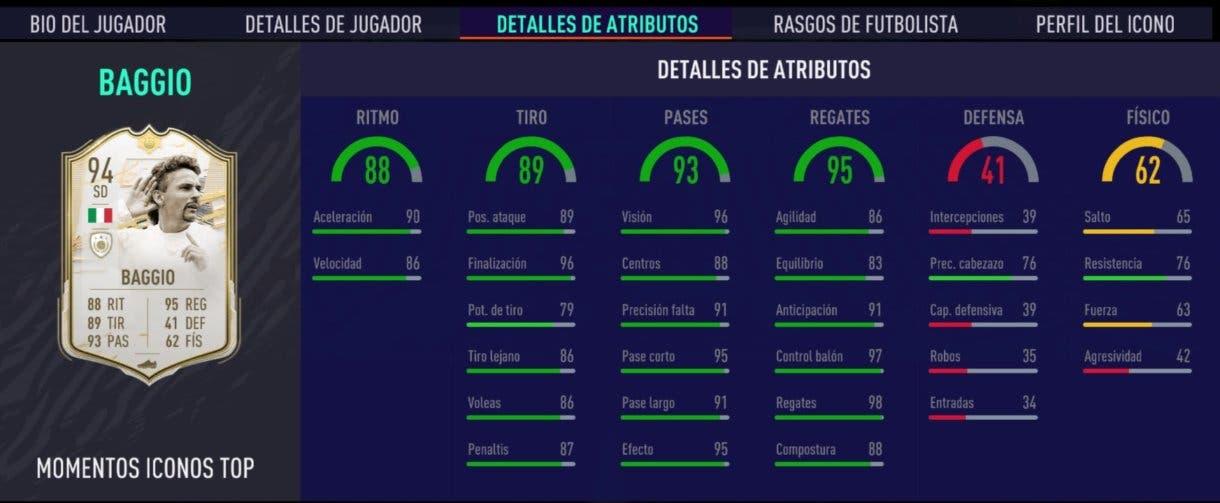 FIFA 21 Ultimate Team Baggio Moments stats in game Icon Swaps segunda tanda.