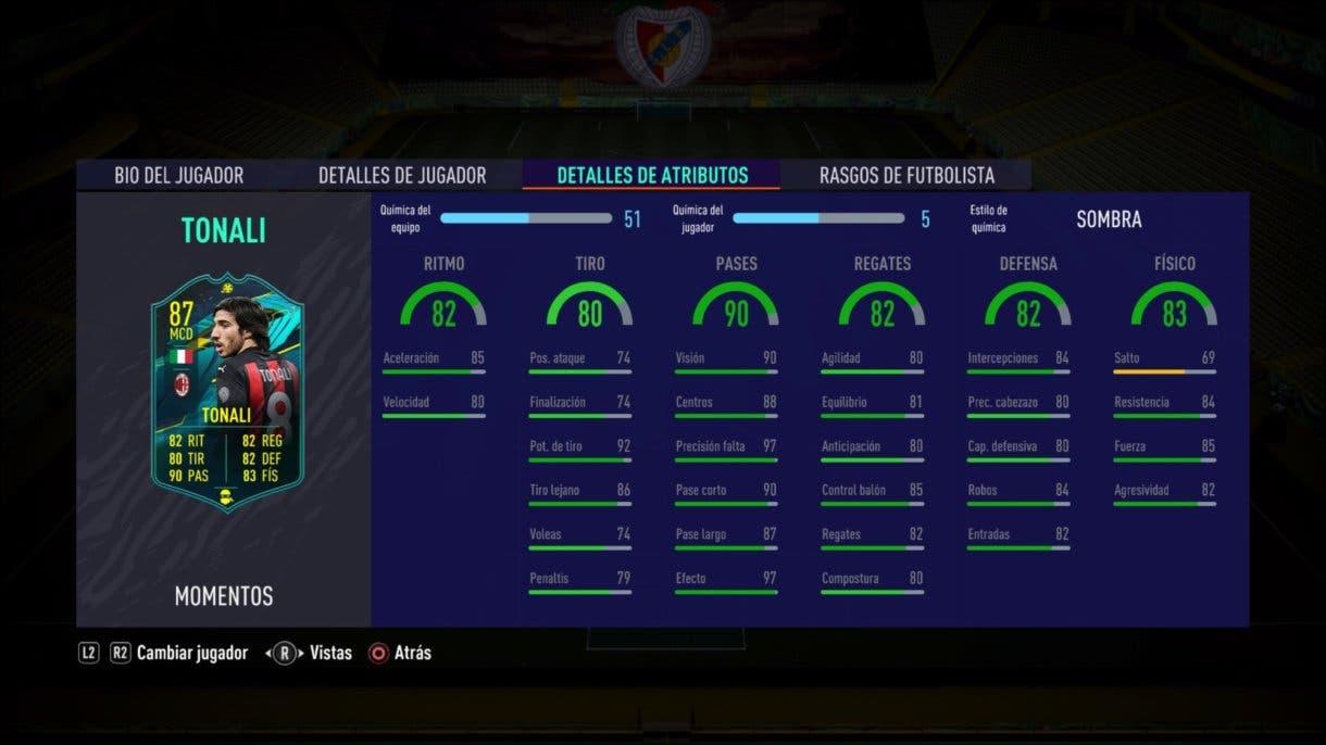 Stats in game de Sandro Tonali Moments. FIFA 21 Ultimate Team