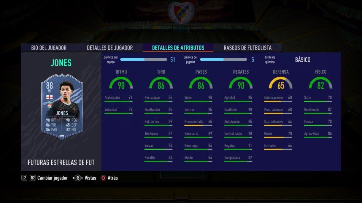 FIFA 21 Ultimate Team Curtis Jones Future Stars stats in game como MI