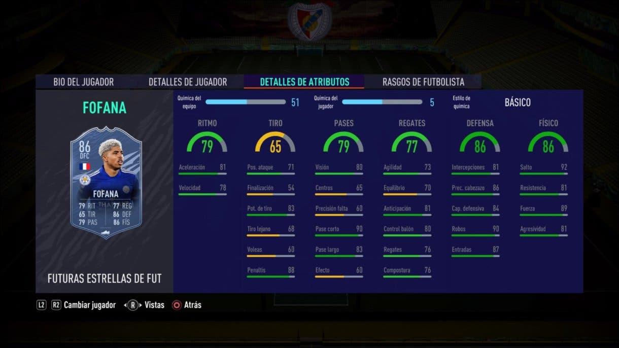 Stats in game de Fofana Future Stars. FIFA 21 Ultimate Team