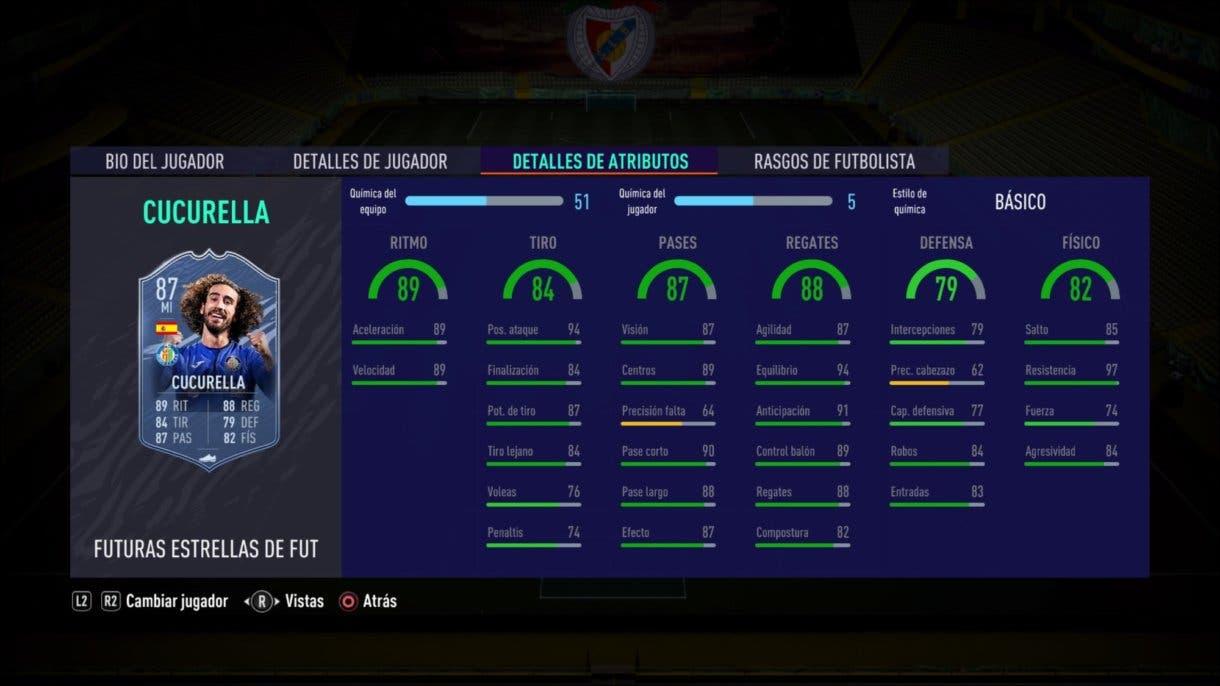 FIFA 21 Ultimate Team Stats in game de Cucurella Future Stars