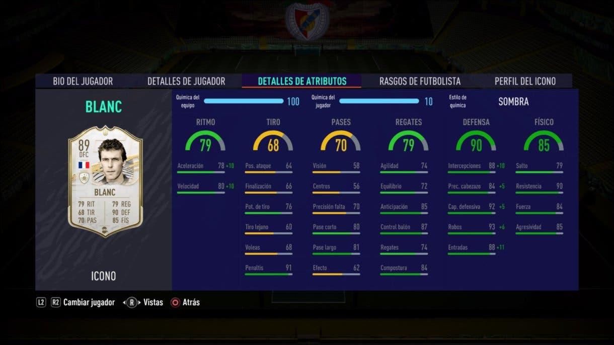 FIFA 21 Ultimate Team Icon Swaps segunda tanda Laurent Blanc Medio review stats in game