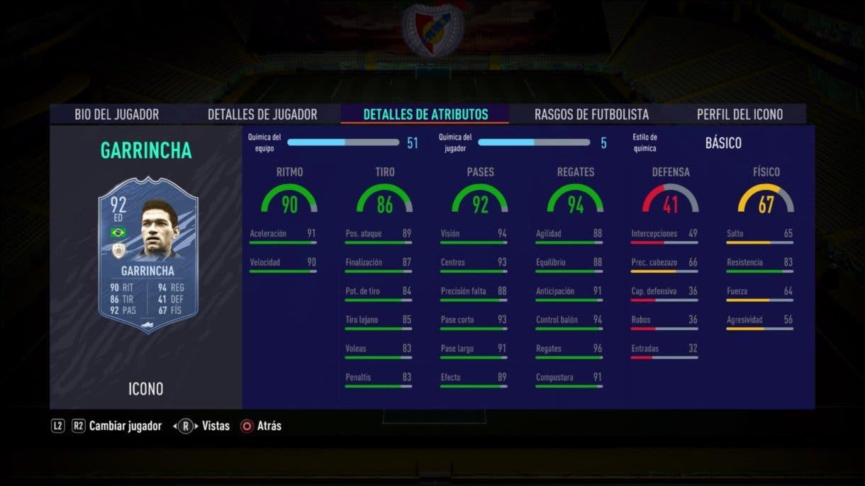 Stats in game de Garrincha Medio. FIFA 21 Ultimate Team. Iconos que nos encantaría ver en la segunda tanda de Icon Swaps.