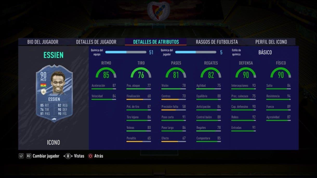 Stats in game de Essien Prime. FIFA 21 Ultimate Team. Iconos que nos encantaría ver en la segunda tanda de Icon Swaps.