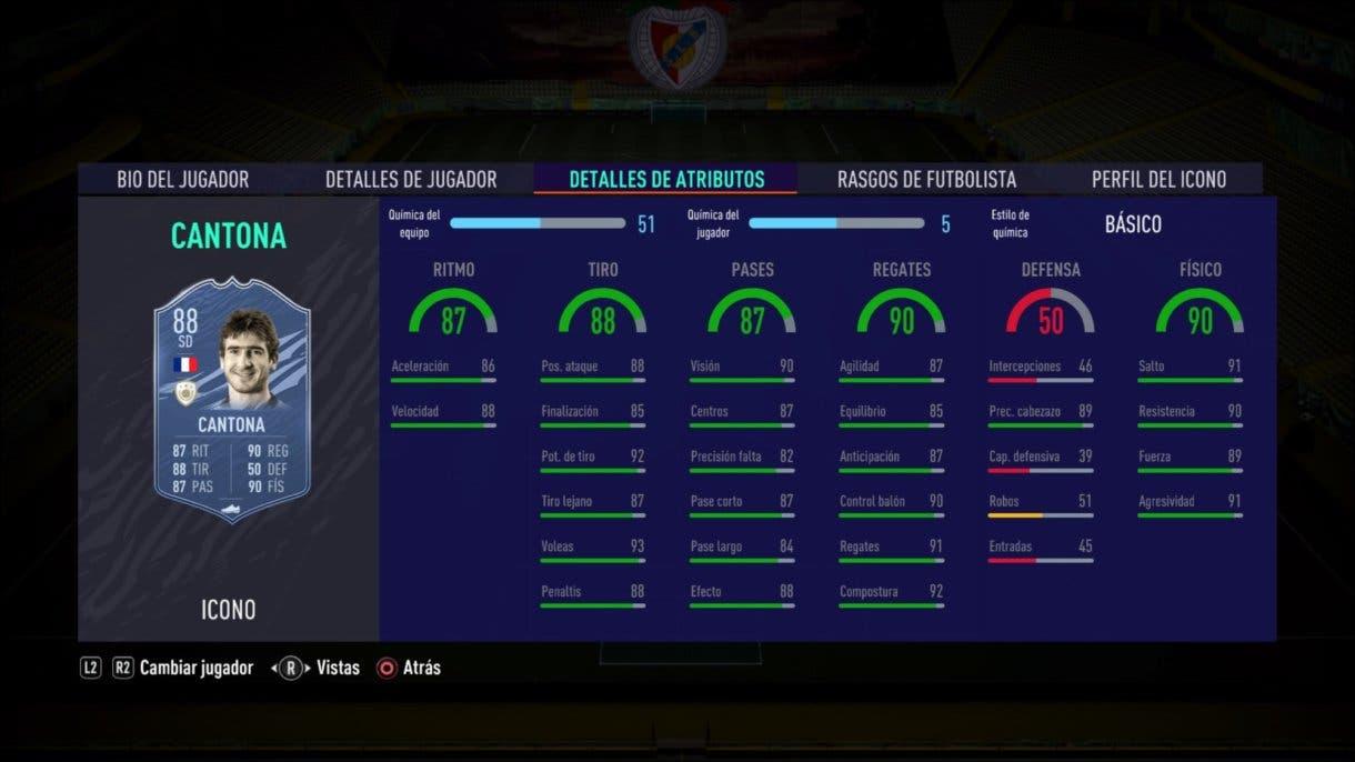 Stats in game de Cantona Baby. FIFA 21 Ultimate Team. Iconos que nos encantaría ver en la segunda tanda de Icon Swaps.