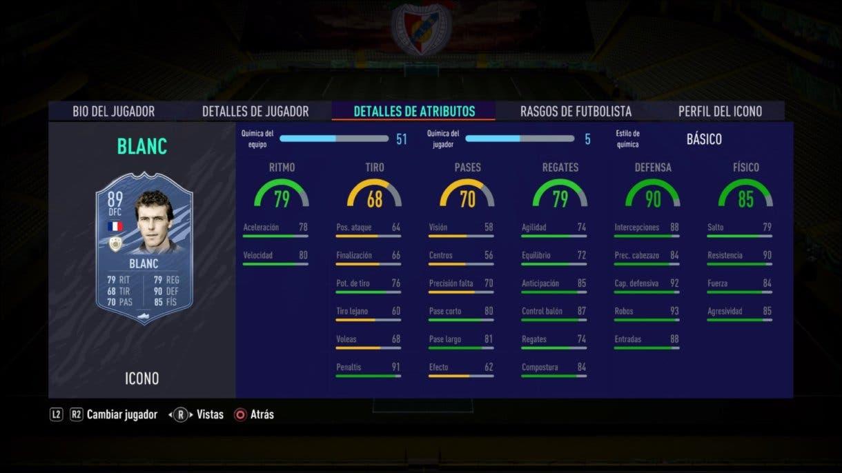 Stats in game de Blanc Medio. FIFA 21 Ultimate Team. Iconos que nos encantaría ver en la segunda tanda de Icon Swaps.