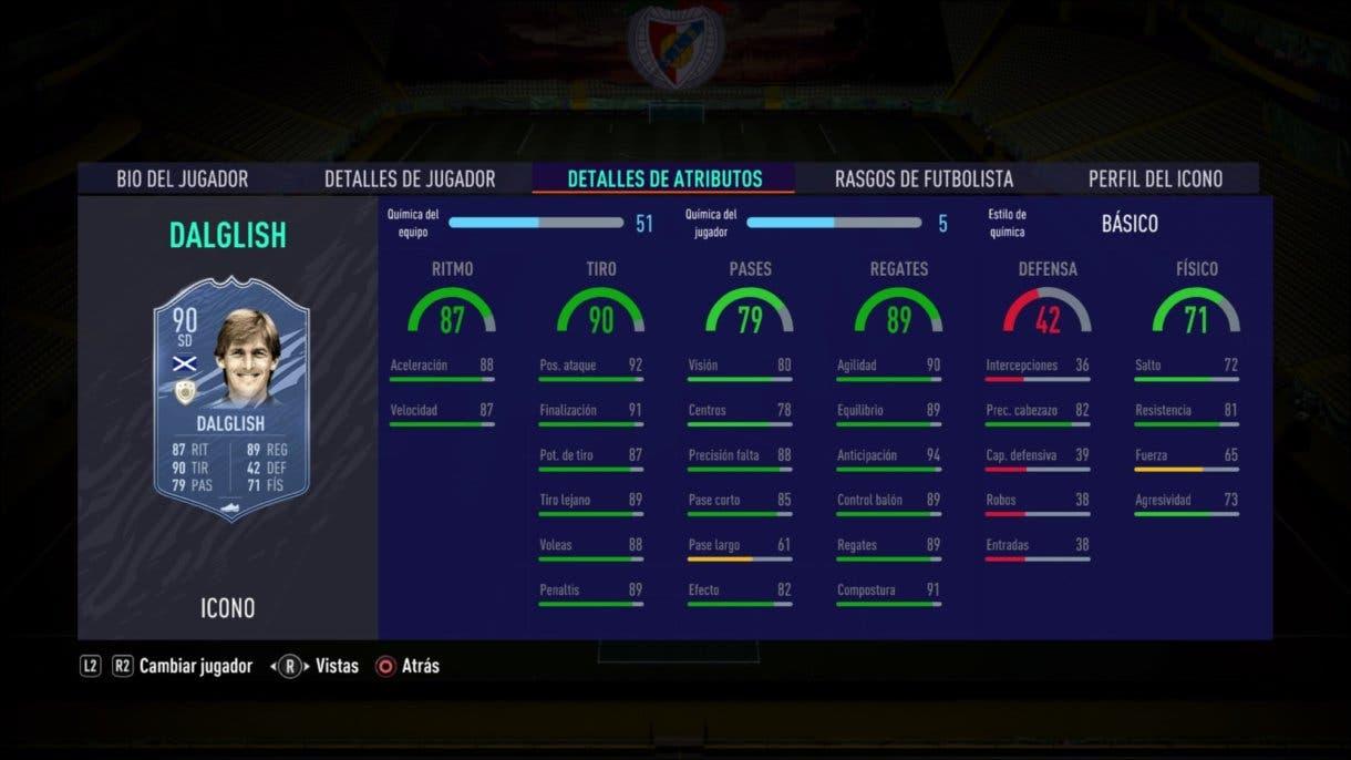 Stats in game de Dalglish Medio. FIFA 21 Ultimate Team. Iconos que nos encantaría ver en la segunda tanda de Icon Swaps.