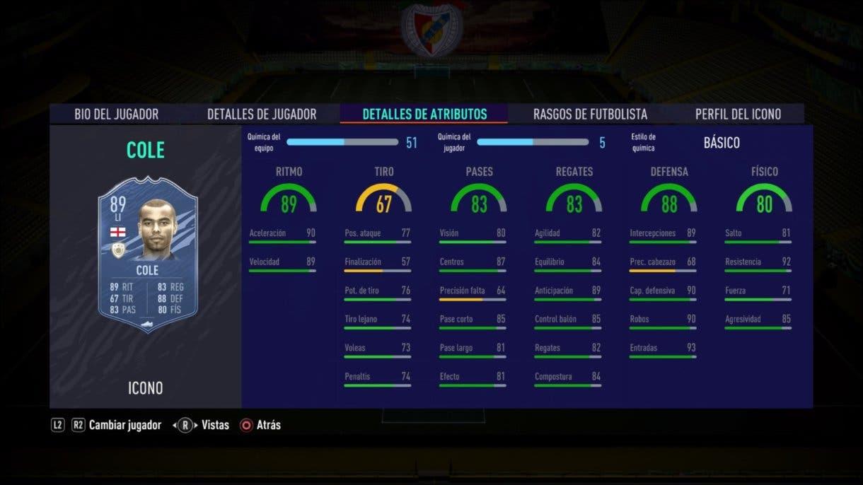 Stats in game de Cole Prime. FIFA 21 Ultimate Team. Iconos que nos encantaría ver en la segunda tanda de Icon Swaps.