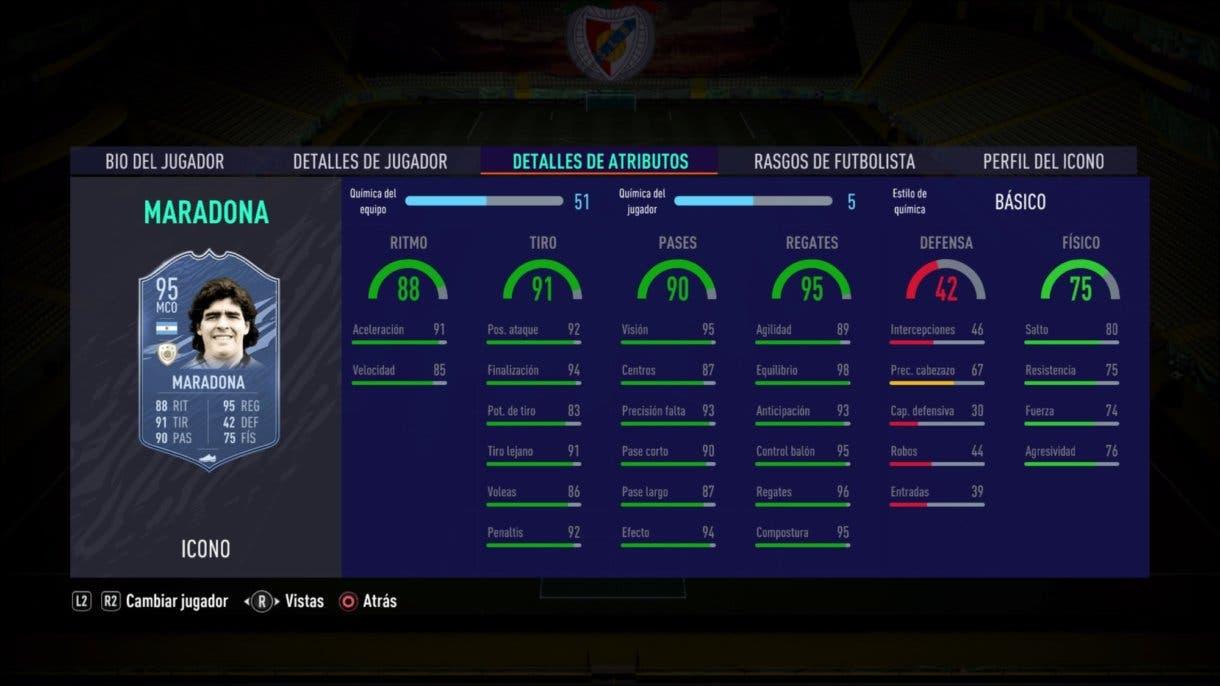 FIFA 21 Ultimate Team Iconos que nos encantaría ver en la segunda tanda de Icon Swaps. Stats in game de Maradona Medio