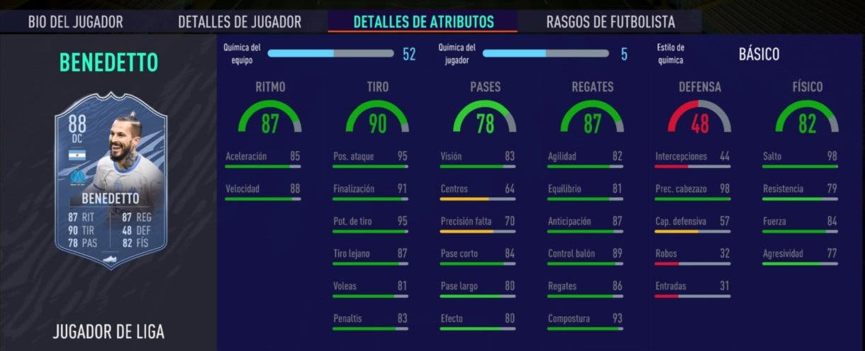 FIFA 21 Ultimate Team Benedetto Jugador de Liga stats in game