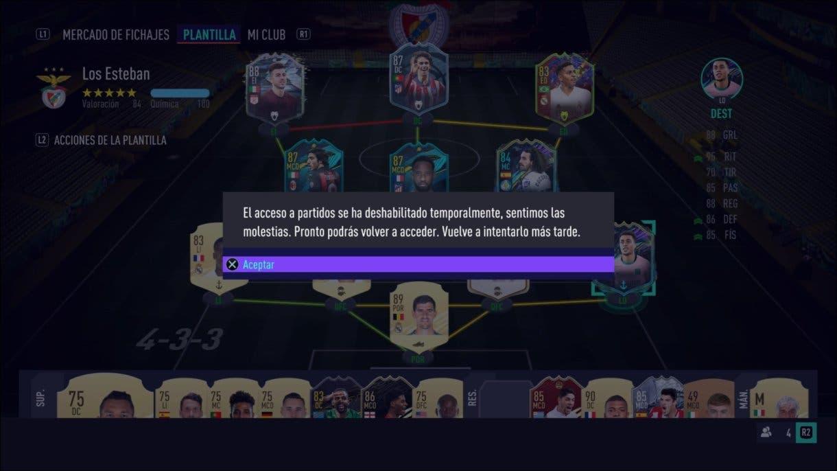 FIFA 21 Ultimate Team partidos deshabilitados por problemas de conexión