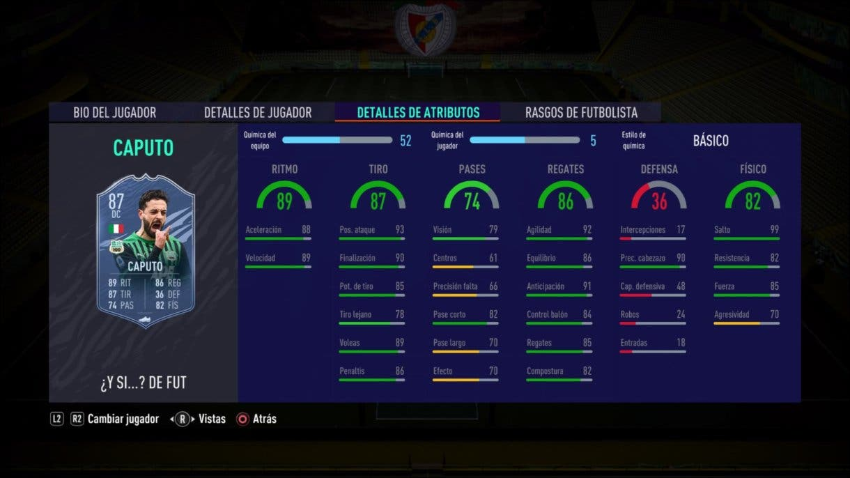 FIFA 21 Ultimate Team Francesco Caputo What If stats in game.
