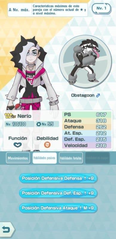 Pokemon Masters EX Nerio y Obstagoon habilidades