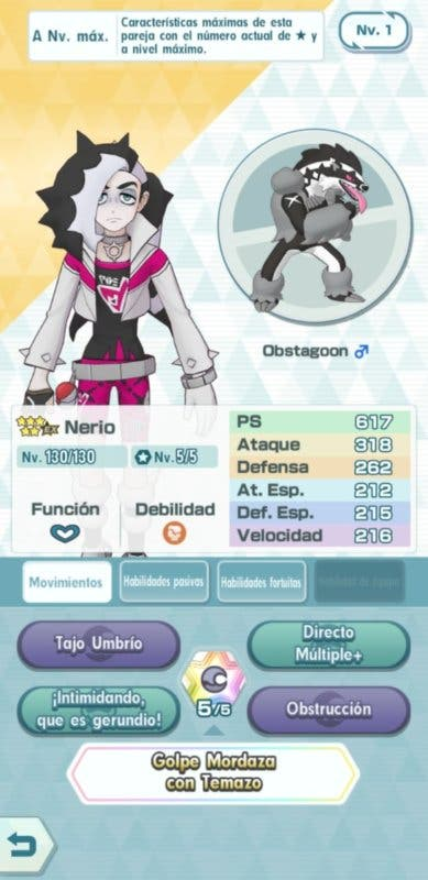 Pokemon Masters EX Nerio y Obstagoon info