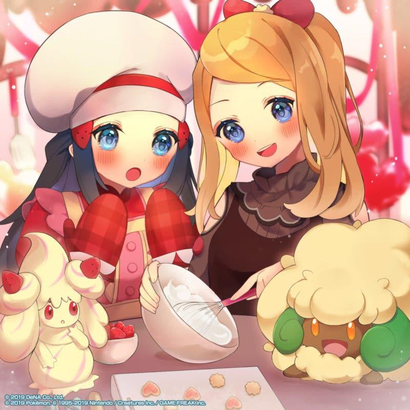 Pokemon Masters Serena y Maya arte