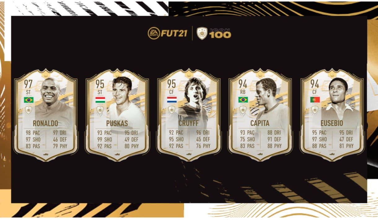 FIFA 21 Ultimate Team Iconos Moments Ronaldo, Puskas, Cruyff, Carlos Alberto, Eusébio